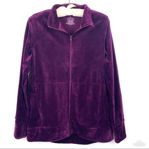 Cuddle Duds Deep Plum Double Plush Full Zip Jacket